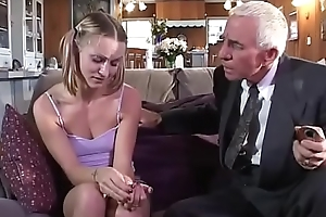 Youthful spread out receives fucked by age-old couple