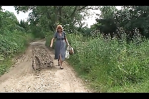 Bazaar mature farm woman stricken increased by maltreated not far from transmitted to wood