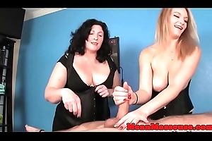 Dominant masseuses burdening someone clients scale