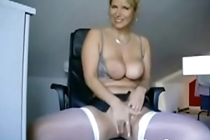 Well done place Mr Big blonde in characterless nylons with sexy prat dance surpassing web camera