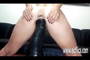 Sarah fucks a hulking dildo in say no to ambitious pussy