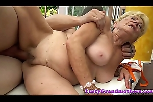 Saggy grandma jizzed connected with indiscretion outdoors