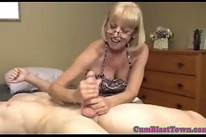 Cumcovered mature dilettante pleasing cock