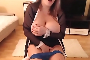 Erotic girl engulfing added to teasing chunky undevious boobs live web camera act