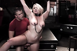 Chunky blonde girl gets tied relative to plus screwed at the end of one's tether the brush stepson