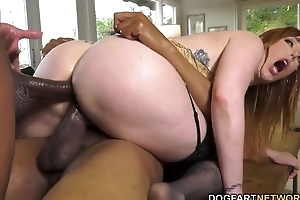 Busty redhead nympho with respect to nylons serves several chunky ebon dongs